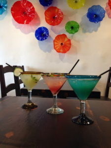 Margaritas and colorful atmosphere at Maggie's Blue Rose Catalina's Premier Mexican Restaurant