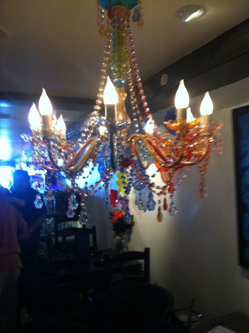 The light are on the the fun has begun at Maggie's Blue Rose Restaurant on Catalina Island
