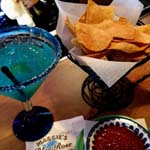 Margaritas and chips and salsa at Maggies Blue Rose Catalina Island c